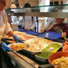 Food being served in cafeteria